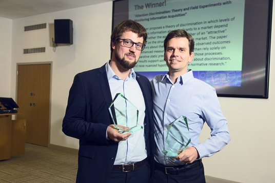 Vojtech Bartos and Michal Bauer at the Exeter Prize 2017 Ceremony